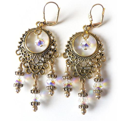 Palmtree Gems Goldtone Crystal 'Isabella' Chandelier Earrings