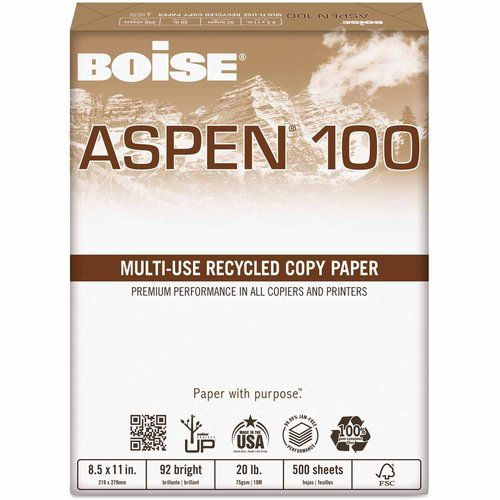 "Boise ASPEN 100 Percent Multi-Use Recycled Paper, 92 Bright, 20 lbs, 11"" x 17"", White, 2500 per Carton"