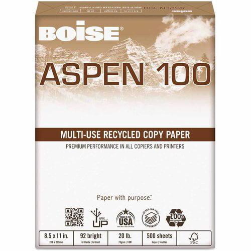 "Boise ASPEN 100 Percent Multi-Use Recycled Paper, 92 Bright, 20 lbs, 11"" x 17"", White, 2500 per Carton"