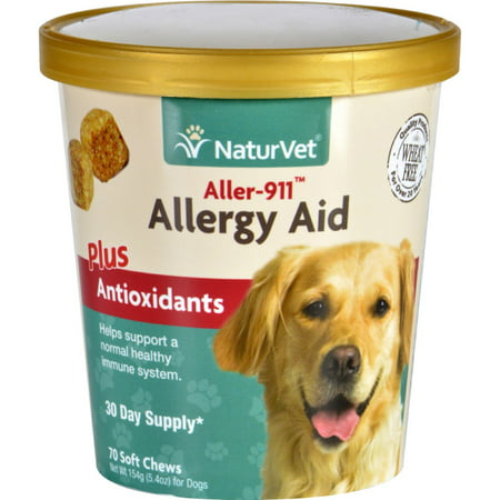 NaturVet Aller-911 Allergy Aid Plus Antioxidants Dog Soft Chews Supplement, 70 Ct
