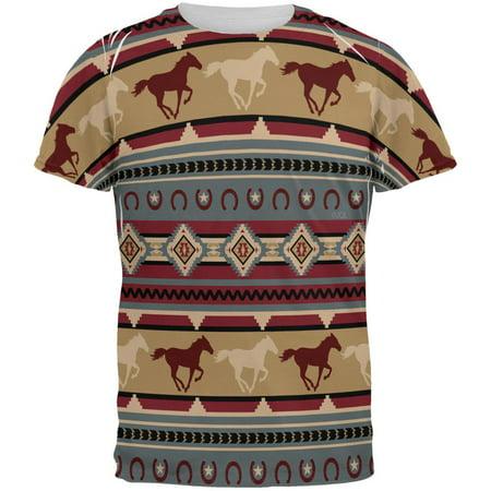 Southwestern Wild Horses Pattern All Over Mens T Shirt ()