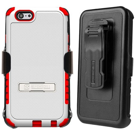 WHITE RED TRI-SHIELD CASE SKIN COVER BELT CLIP HOLSTER STAND FOR iPHONE 6