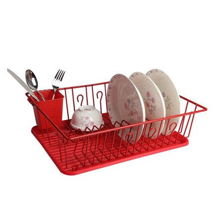 Mega Chef 17.5 Inch Red Dish Rack