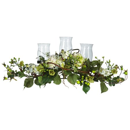 Nearly Natural Hydrangea Triple Candleabrum Centerpiece (Softball Centerpieces)