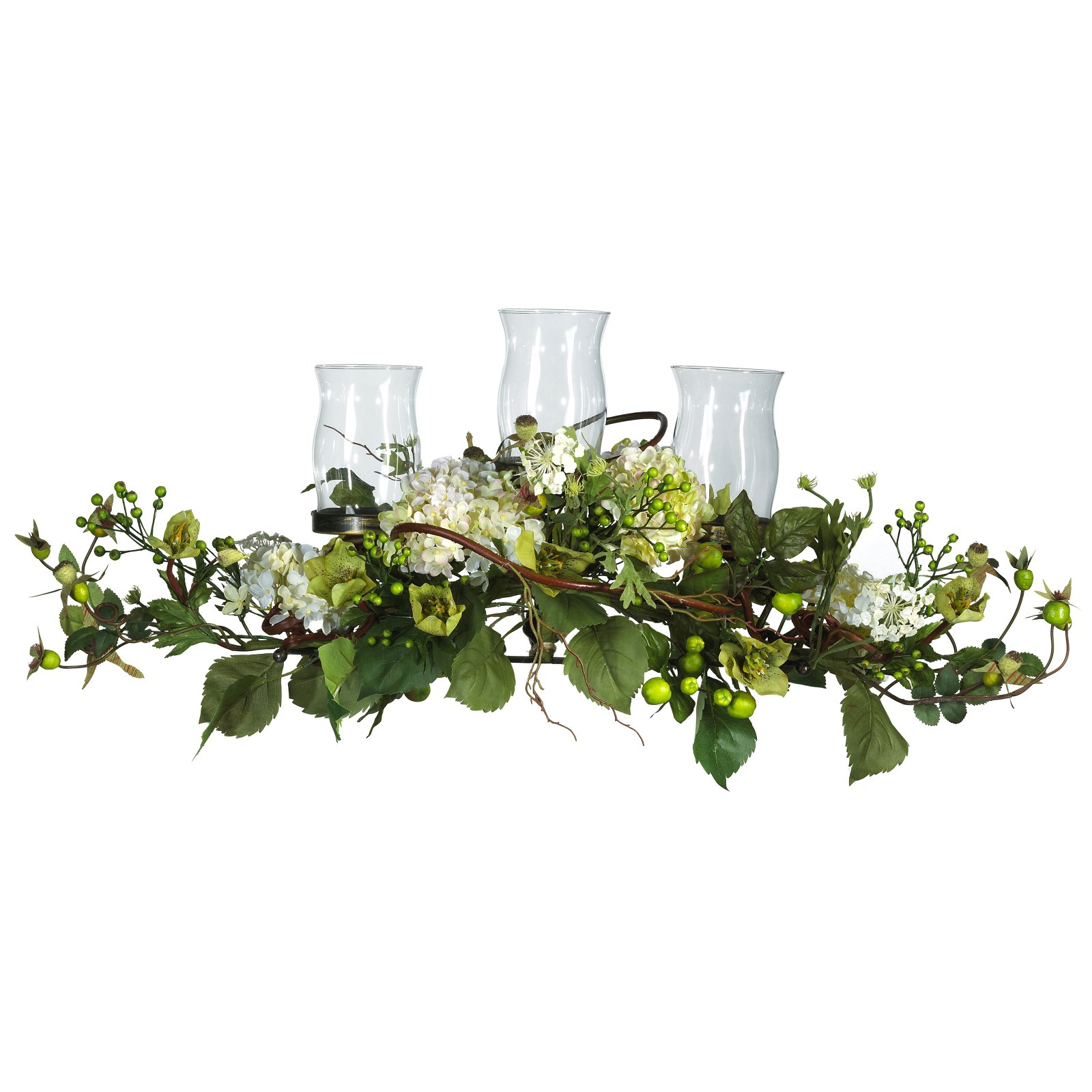 Nearly Natural Hydrangea Triple Candleabrum Centerpiece