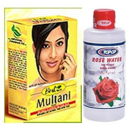 Herbal Multani Mati (Mitti) Fullers Earth 100G & Top Op Rose Water 200Ml - 2 In 1 Face & Skin CareWalmartbo Pack, Hesh Face & Skin CareWalmartbo Pack - 2 in 1 By (Multani Mitti Face Pack For Oily Skin)