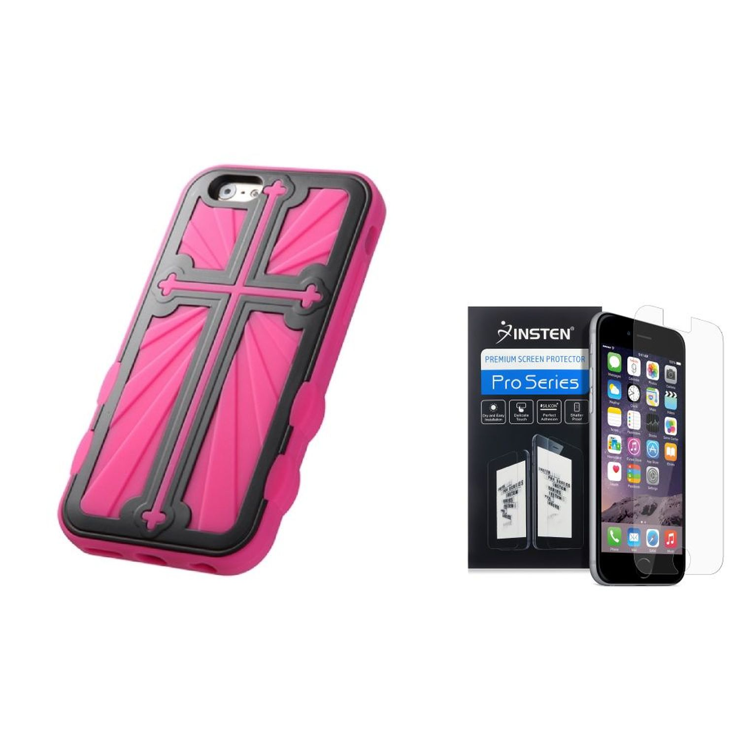 "Insten Black/Pink Cross Dual Layer Hybrid Case for iPhone 6S / 6 4.7""+Screen Protector"