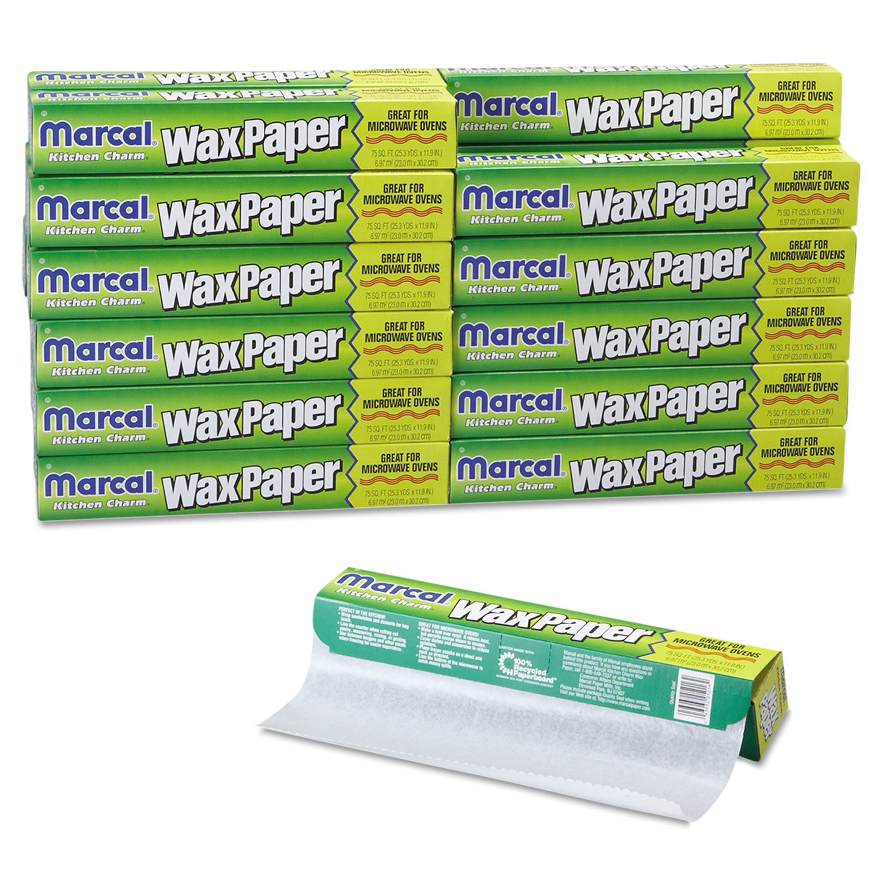 Marcal Kitchen Charm White Wax Paper Rolls, 24 count