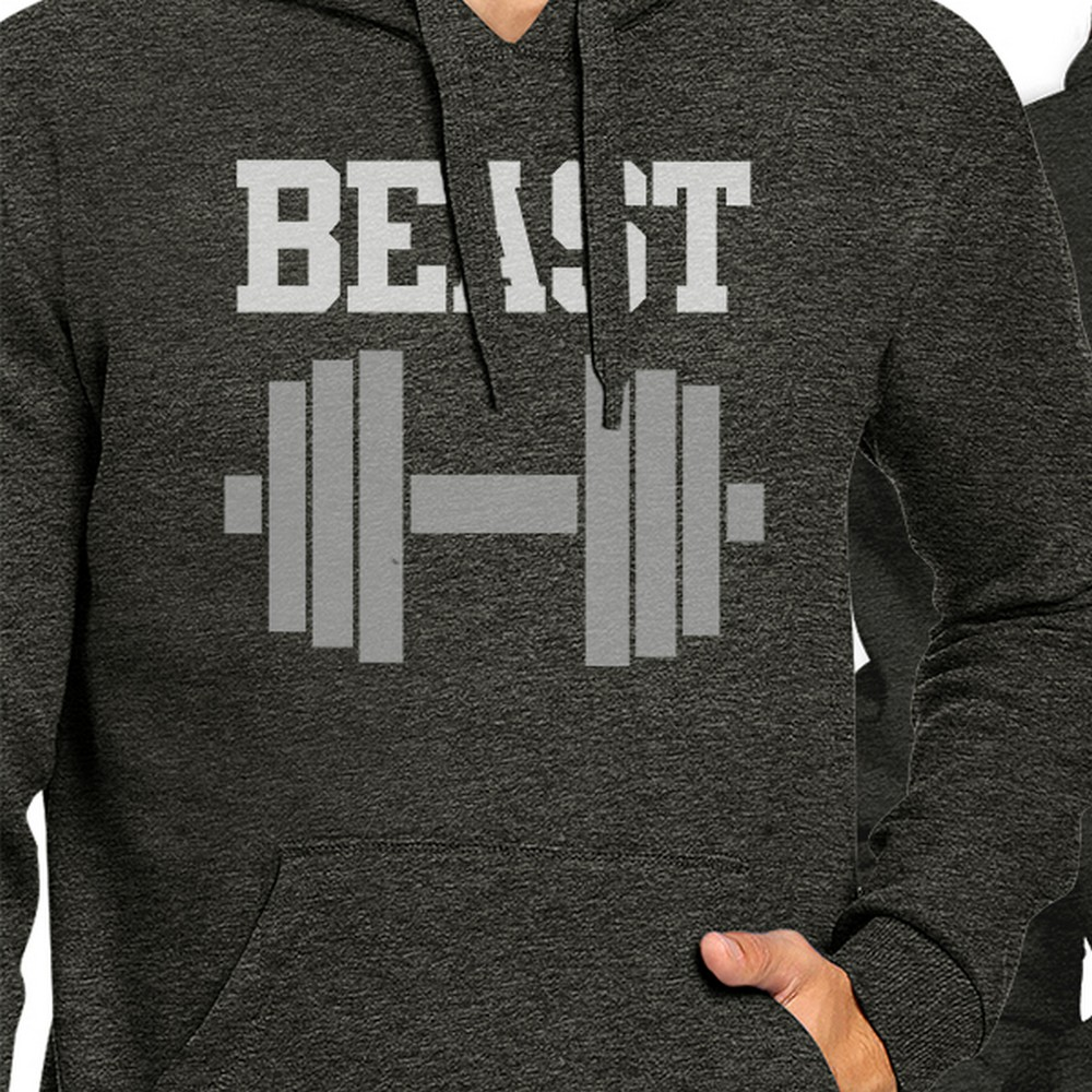 Left- M//Right- 2XL 365 Printing Every Beast Beauty Grey Matching Hoodies Pullover for Couples Gifts