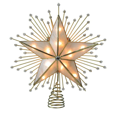 8 75 Lighted Capiz Star With Beaded Sunbursts Christmas Tree Topper Clear Lights