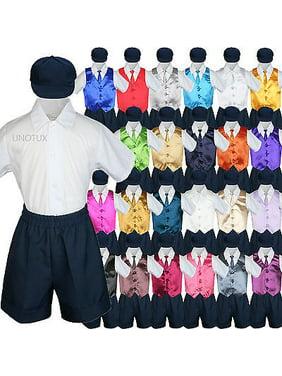 303afe7a Product Image Baby Boys Toddler Formal Vest Shorts Suit Satin Vest Necktie  5pc Navy Set S-4T