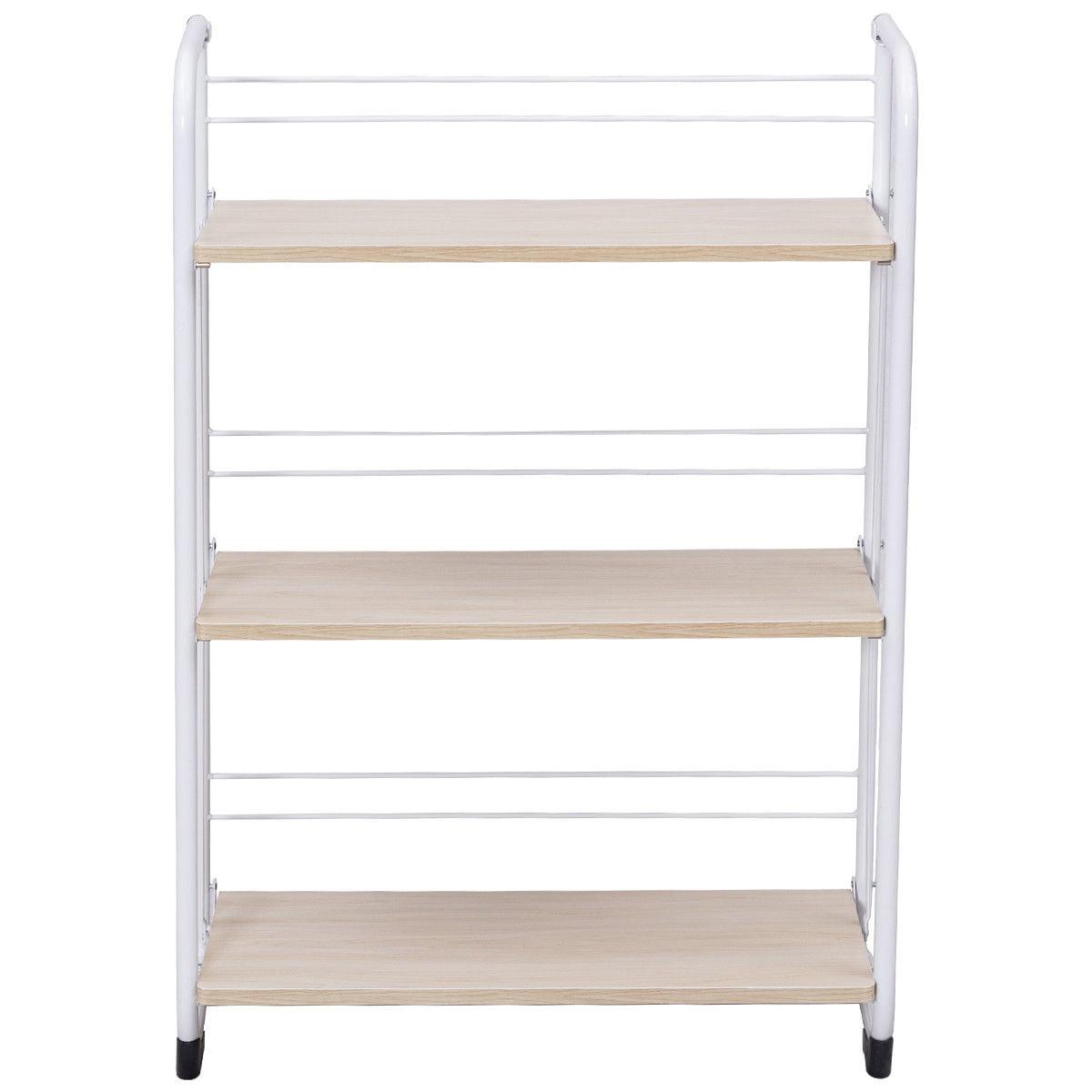 Gymax Folding 3 Tier Shelves Organization Storage Utility Shelving Unit Standing Rack - image 2 of 10