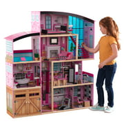 KidKraft Shimmer Mansion Wooden Dollhouse, Over 5 Feet Tall, Lights & Sounds and 30 Pieces
