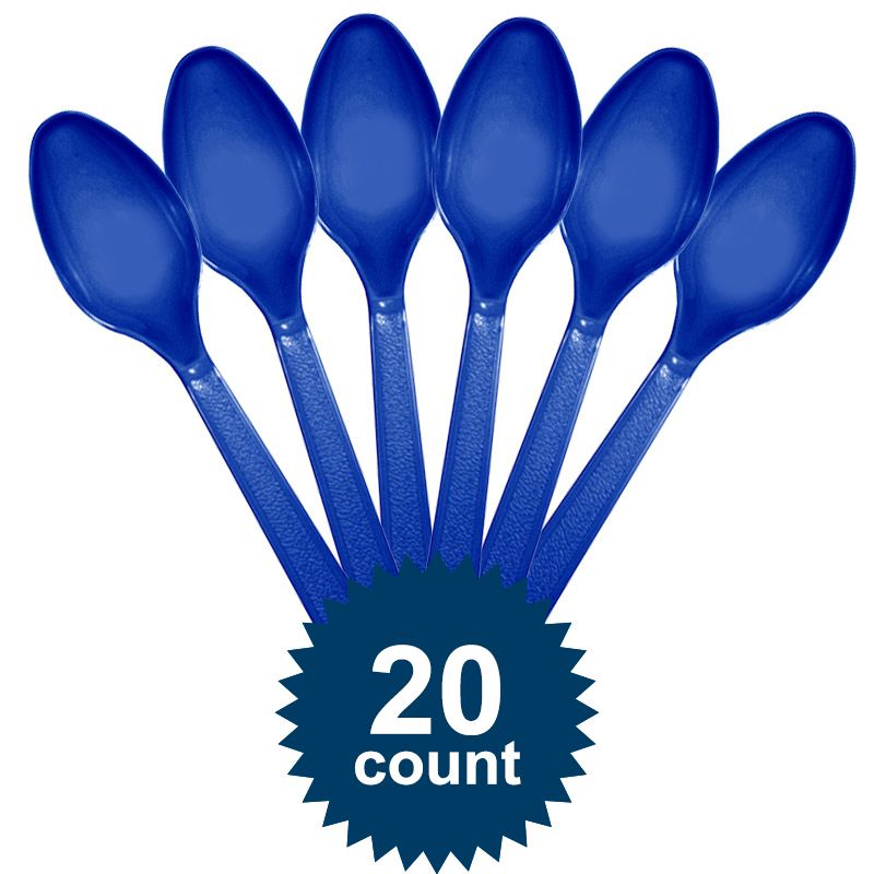 Blue Plastic Spoons - Party Supplies