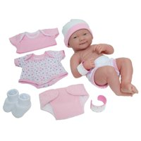 "JC Toys 14"" All-Vinyl La Newborn, Smiling Baby Doll, Pink Deluxe Clothing Layette Set - Perfect for Children 2+"
