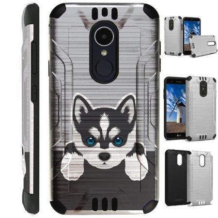 Huskey Dog (For LG Rebel 3   LG Rebel 4 Case Brushed Metal Texture Hybrid TPU Silver Guard Phone Cover (Cute Dog Siberian)