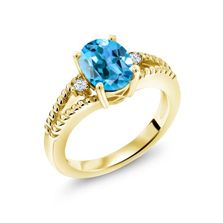 1.87 Ct Oval Swiss Blue Topaz 18K Yellow Gold Plated Silver Ring ()