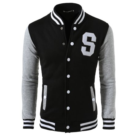 Unique Bargains Men's Letter Pattern Long Sleeve Button Front Baseball Jacket (Mens Jacket Patterns)