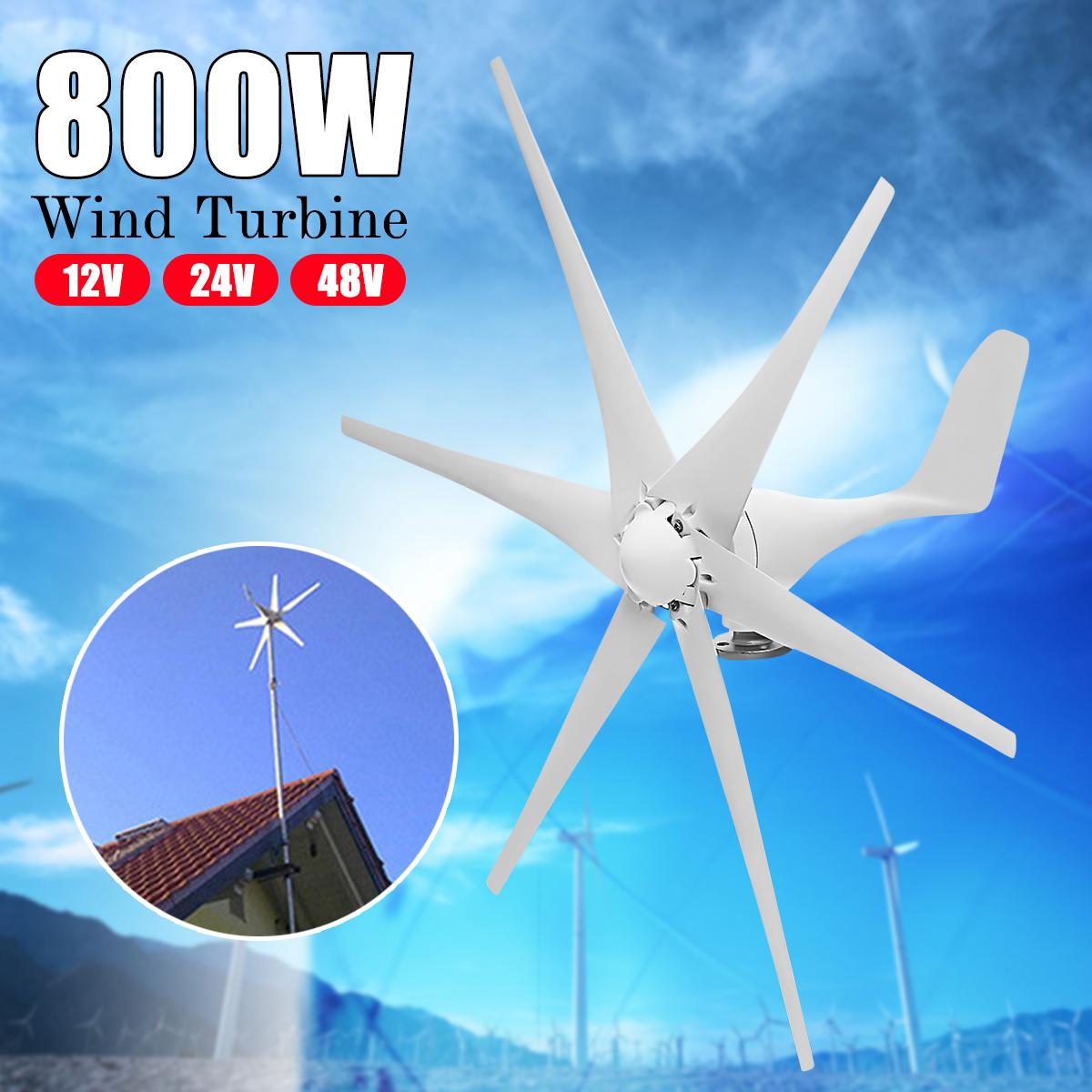 Wind Generator Max 800W Wind Turbine Generator DC 12/24V 6 Blades Wind Turbine Generator Green Energy