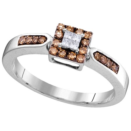 Size - 7 - Solid 10k White Gold Princess Cut Round White And Chocolate Brown Diamond Engagement Ring OR Fashion Band Invisible Set Square Shape Solitaire Shaped Halo Ring (1/4 cttw)