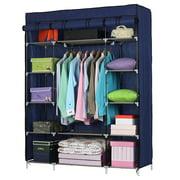 "Ktaxon Non- Woven, 53"" Portable Closet Storage Organizer Wardrobe Clothes Rack with Shelves,Blue"