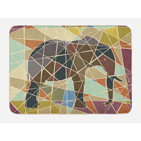 Elephant Bath Mat, Mosaic Design African Animal in Soft Colors Wildlife Nature Safari Theme Artwork, Non-Slip Plush Mat Bathroom Kitchen Laundry Room Decor, 29.5 X 17.5 Inches, Multicolor, Ambesonne - Safari Theme Decor