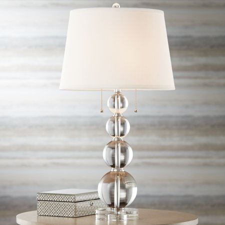 Vienna Full Spectrum Modern Table Lamp Stacked Crystal Spheres White Drum Shade for Living Room Family Bedroom Bedside Nightstand (Amp Full Stack)
