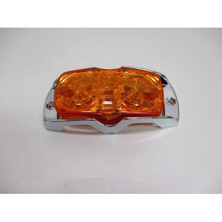 Chrome Side Marker Light (Amber LED Tiger Bulls Eye Truck Side Marker Clearance Light / Chrome Metal Guard)