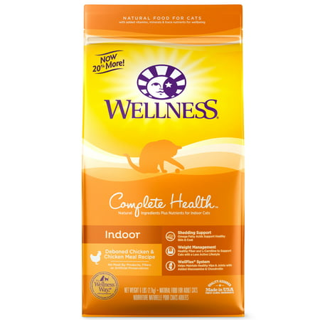 Wellness Complete Health Natural Dry Cat Food, Indoor Chicken & Chicken Recipe, 6-Pound Bag