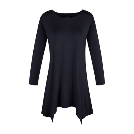 SAYFUT Womens Swing Tunic Tops 3/4 Sleeve Loose Fit Black Basic Shirt with Unique Hem Swing Top Tee