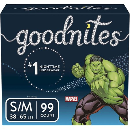 Goodnites Boys Bedtime Bedwetting Underwear, Size S/M, 99 Count Pull Ups Goodnites Underpants