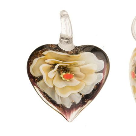 Italian Murano Glass Flower - Phlox Flower Purple Base Heart Lampwork Glass Pendant 32x31mm Handmade Murano Inner Flower And Lampwork Glass Pendant (3pcs Bundle), SAVE $2