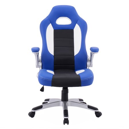 - GHP Black & Blue High Back Racing Style Bucket Seat Executive Office Task Chair
