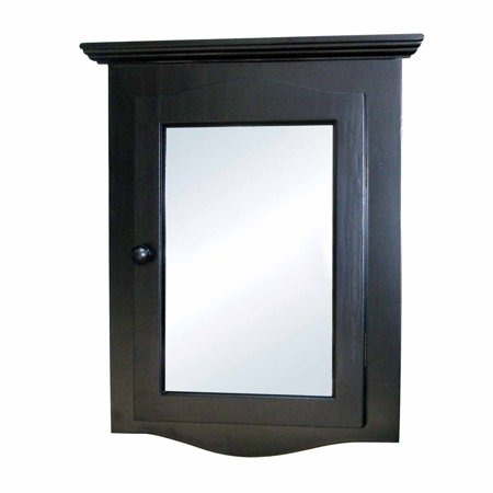 Renovator Apos S Supply Black Hardwood Corner Wall Mount Medicine Cabinet With Recessed Mirror