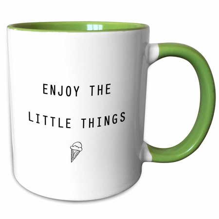 3dRose ENJOY THE LITTLE THINGS ICE CREAM CONE - Two Tone Green Mug, 11-ounce - Ice Cream Cone Die Cuts