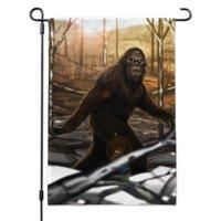 Bigfoot Sasquatch Walking in the Woods Garden Yard Flag with Pole Stand Holder