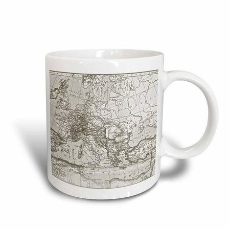 3dRose Vintage Roman Empire Map, Ceramic Mug, 11-ounce