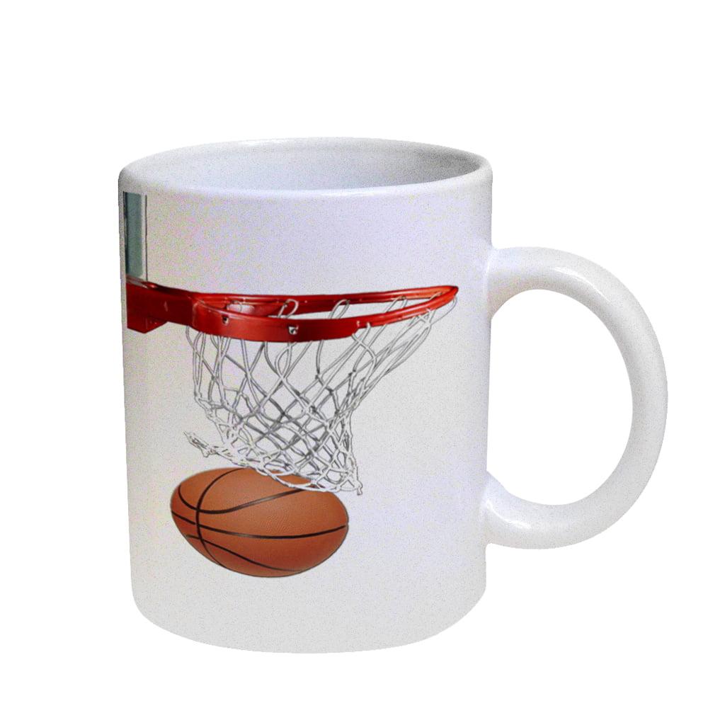 KuzmarK Coffee Cup Mug Pearl Iridescent White - Basketball Hoop Basketball