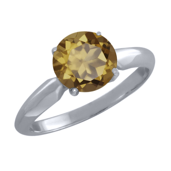 1.80 Ct Round Whiskey Quartz Sterling Silver Ring
