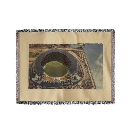 Cleveland, OH - Aerial of Municipal Baseball Stadium (60x80 Woven Chenille Yarn Blanket)