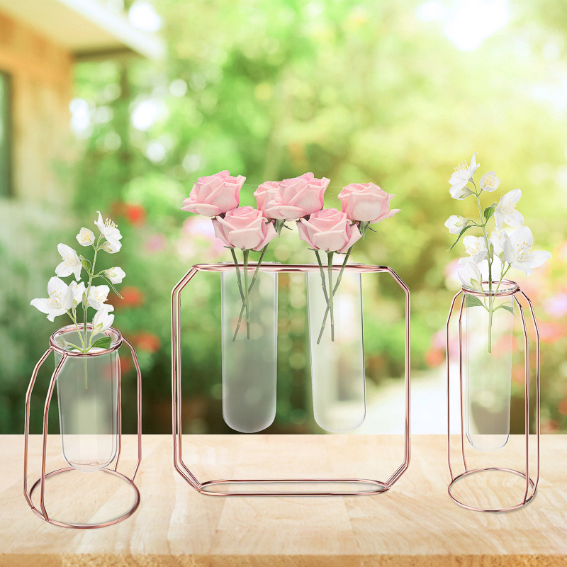 3pcs/set Hanging Glass Ball Tube Vase Flower Plant Pot Terrarium Container Party Wedding Iron Stand For Home Office Cafe