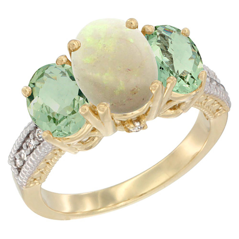 14K Yellow Gold Diamond Natural Opal Ring 3-Stone Oval 8x6mm with Green Amethyst, sizes5-10 by WorldJewels