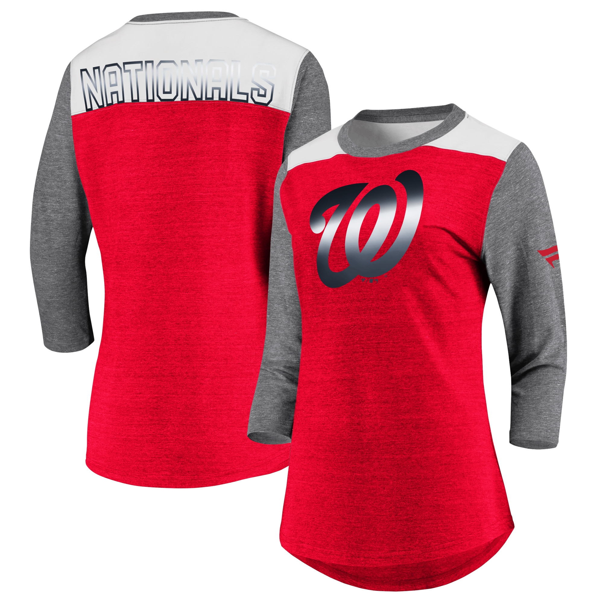 Washington Nationals Fanatics Branded Women's Iconic Tri-Blend 3/4 Sleeve T-Shirt - Red/Gray