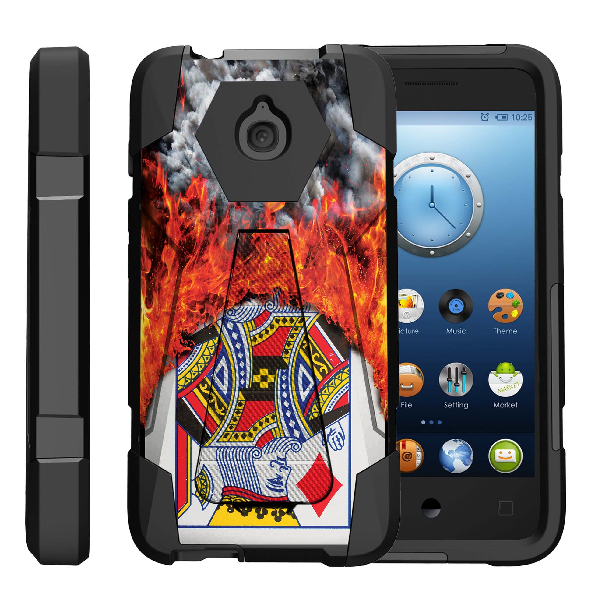 TurtleArmor ® | For Alcatel One Touch Aquire / Streak / Dawn / Ideal / Pixi Bond A573VC [Dynamic Shell] Dual Layer Hybrid Silicone Hard Shell Kickstand Case - Burning Card