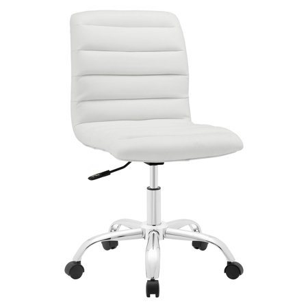 - Modway Ripple Armless Mid Back Leatherette Office Chair, Multiple Colors