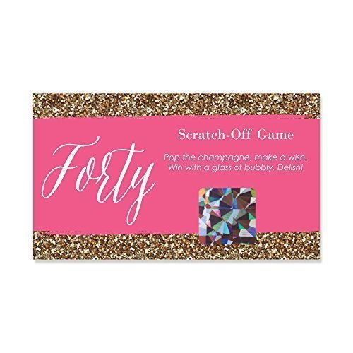 Chic 40th Birthday - Party Game Scratch Off Cards - 22 Count