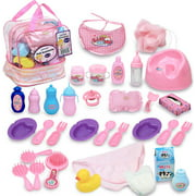 Click N' Play 33 Piece Baby Doll Feeding and Caring Accessory Set In Zippered Carrying Case.