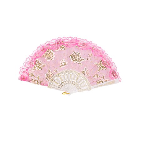 Plastic Frame Glitter Powder Decor Pink Nylon Section Folding Hand Fan - Folding Hand Fans