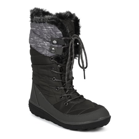 Women Mixed Media Mid-Calf Quilted Lace Up Fur Shearling Winter Boot - 18153