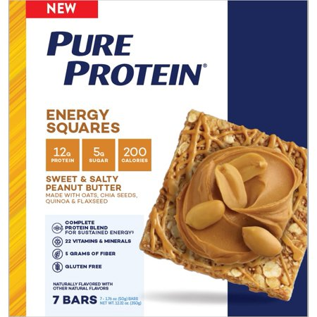 Pure Protein Energy Squares, Sweet & Salty Peanut Butter, 12g Protein, 7 Ct